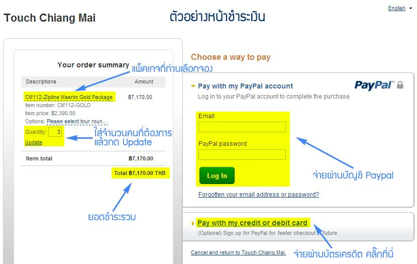 การชำระเงินผ่านบัตรเครดิตหรือ paypal