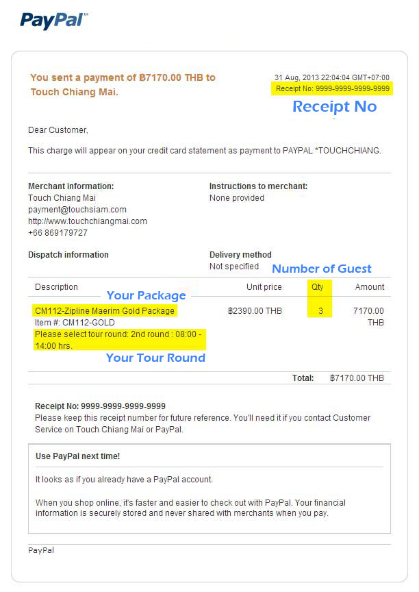 Booking Details Touch Chiang Mai Receipt No