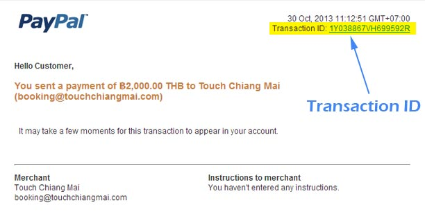 Booking Details Touch Chiang Mai Transaction ID