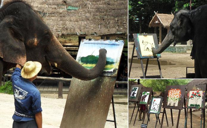 Maerim Chiang Mai Elephant at Work Painting